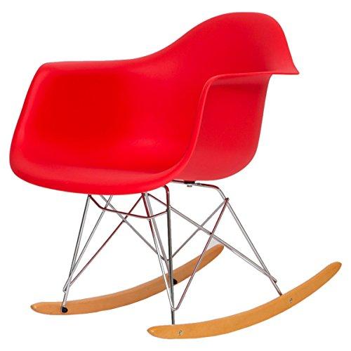 【揺れてリラックスできる大人のゆりかご 不朽の名作イームズチェアRAR】 スッキリとした無駄のないデザイン リラックスできるロッキングチェアー 座り心地のいいアームシェル型 (レッド色)