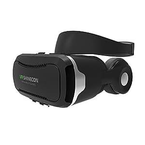 VR SHINECON 3D VRゴーグル メガネ 4代目ゴーグル Virtual Realityメガネ VR ゴーグル 最新型 VRヘッドセット 3Dメガネ VR BOX 4.5-6インチのスマホに適用 3D IMAXバーチャルリアリティヘッドセット内蔵ヘッドフォン イヤホン実装音量調整・動画一時停止 取り外しヘッドバンド付き レンズ距離と焦点距離調整可能 (4代目ゴーグル)