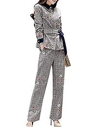 スーツ レディース セットアップ ジャケット パンツ チェック ベルト 刺繍 ベルベット 異素材 切り替え 上下