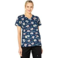 Chloe Womens Printed V-Neck Top Short Sleeve Medical Scrubs Shirt - Multi - XX-Large