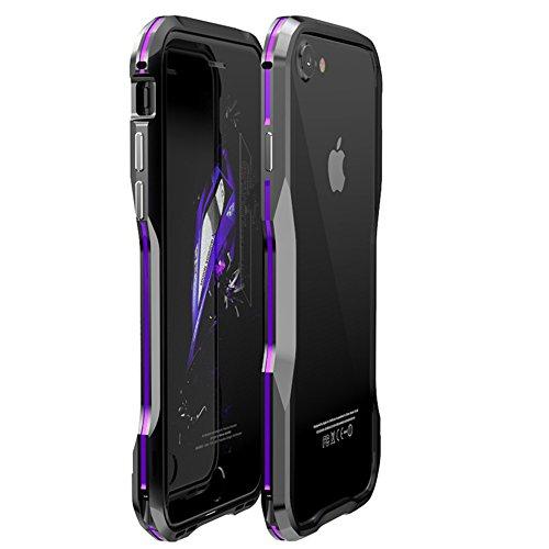 【M&Y】iPhone8 バンパー iPhone8 ケース iPhone8 メタルサイドバンパー アイフォン8 バンパー iPhone8アルミバンパー iPhone8 カバー「全5色」MY-I8-SS-70918 (パープル+ブラック)