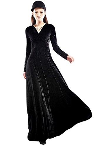 (ドレスター) DRESSTAR ベロア ロング ワンピース 長袖 t48(Mサイズ, ブラック)