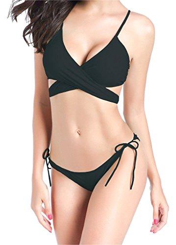 ビキニ,欧米人気 蛍光色 海水浴 水泳 ファッション 人気着痩せ セクシー 夏 水着 2点セット レディース ホルターネック ブラック M