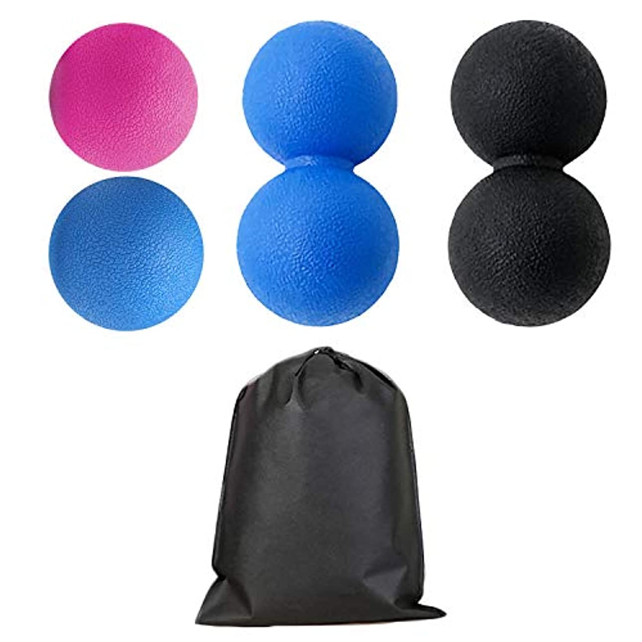 請求可能下手聖人Migavan 2本マッサージボールローラーバックマッサージボール収納袋が付いている別の様式のマッサージのローラーボールのマッサージャー