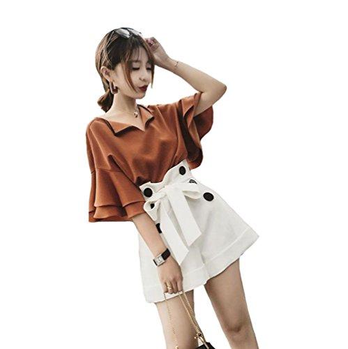 [해외]OFGDWE 뽀빠이 바지 2 종 세트 (t 셔츠 + 바지) 여성 하이 웨스트 플레어 소매 v 넥 여름 얇은 a 라인 캐주얼 반바지 통근 통학 귀여운 잽 바지 세트/OFGDWE Salopette 2 Piece Set (t Shirt + Pants) Ladies High Waist Flare Sleeve v Neck Summer...