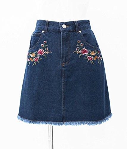 CHILLE ポケット刺繍入りデニムスカート ブルー F