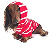 DJANGO Dog Hoodie and Super Soft and Stretchy Sweater with Elastic Waistband and Leash Portal (Small, Red)