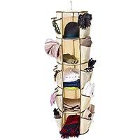 PIKANCHI クローゼット オーガナイザー 360度回転 吊り下げ式 収納 5段の大容量 折り畳み式 換気性 使用簡単 シンプル設計 バッグ/かばん/衣類/靴/小物/帽子/キャップ/ベージュ/サングラスなどの収納可能 家庭用(5段)