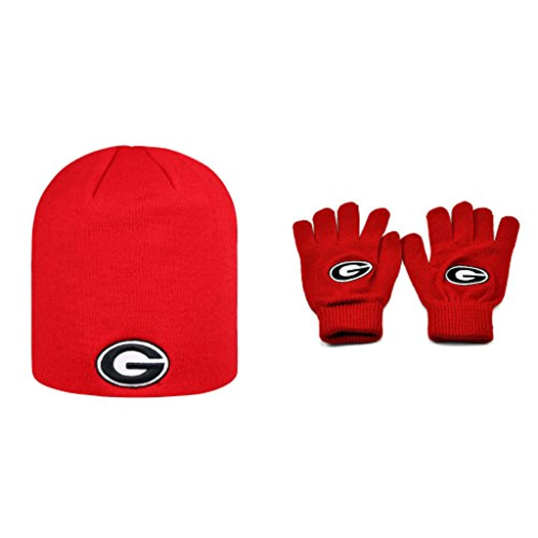 NCAA Georgia Bulldogs Classicビーニー帽子、ニット手袋2パックバンドル