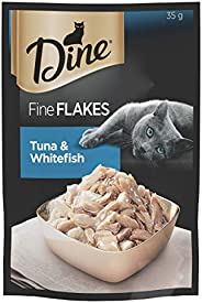 DINE Fine Flakes Tuna And Whitefish Wet Cat Food, Adult, 35g x 12 Pack