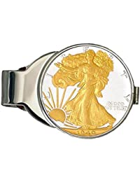 24 KゴールドメッキPureシルバーWalking Liberty半分ドルお金クリップ