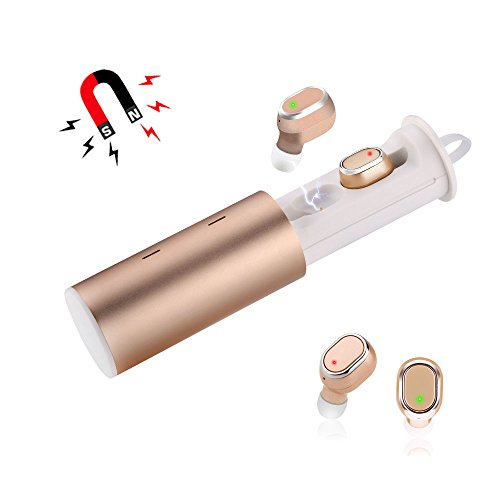 Zagzog Bluetooth イヤホン 高音質 ワイヤレス 左右分離型 両耳 片耳 ワンボタン設計 HIFI高音質 マイク内蔵 通話可 充電式収納ケース iPhone/Android対応 (ゴールド)