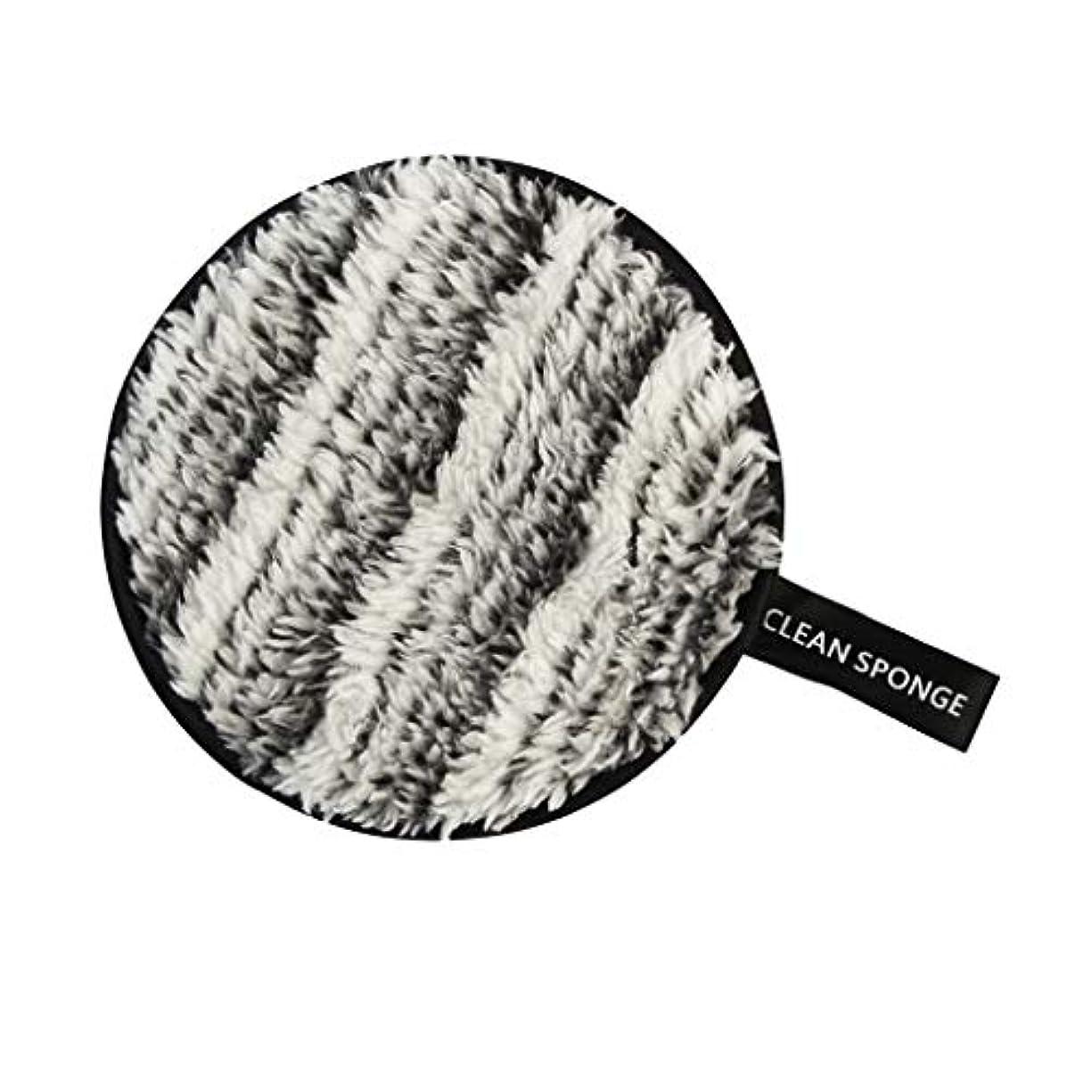 についてチチカカ湖正義再利用可能 洗顔パフ メイクアップ スポンジ 全6色 - 黒+白