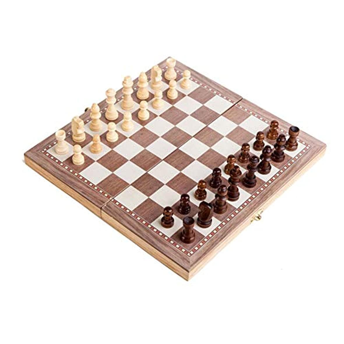 ピューくちばし拘束国際チェス 木製チェス 折りたたみチェスボード チェスセット ブラウンとベージュの駒 収納便利 携帯便利 Styleshow