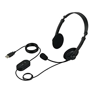iBUFFALO ヘッドセット 両耳 ヘッドバンド式 USB接続 ブラック BSHSUH06BK