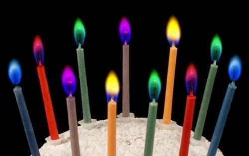 【ノーブランド】誕生日 クリスマス ケーキ用ろうそく 【カラーフレームバースデーキャンドル 5色セット】×2セット (合計10本) カラフルカラーの炎 ロマンチックなキャンドル
