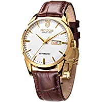 Men's Wrist Watches ROCOS Japanese Automatic Mechanical Watch for Men Waterproof Analog Watch with Genuine Leather Skeleton Luxury Classic Elegant Gift#R0139