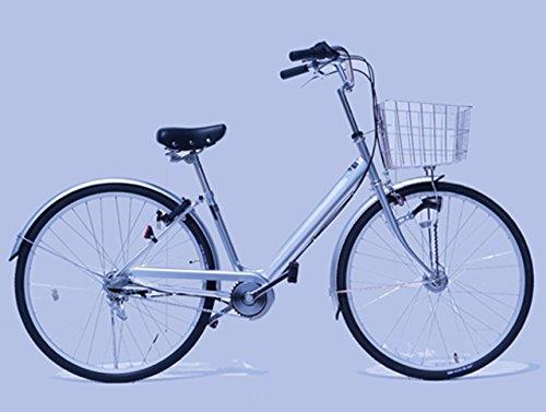 フレキシギア搭載 エコギア 完成自転車 坂道楽々 膝に優しい 通勤 通学 (シルバー 26インチ)
