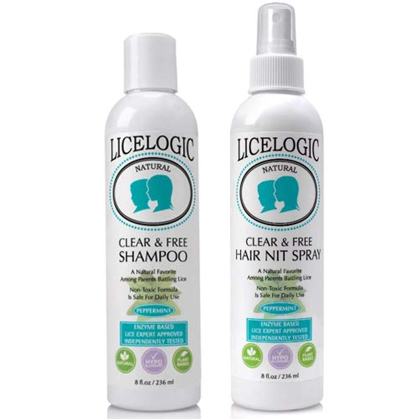 Lice Logic 植物由来の高濃度ブレンド酵素配合 Clear and Free シャンプー ヘアニットスプレー 2点セット(ペパーミント)各236ml
