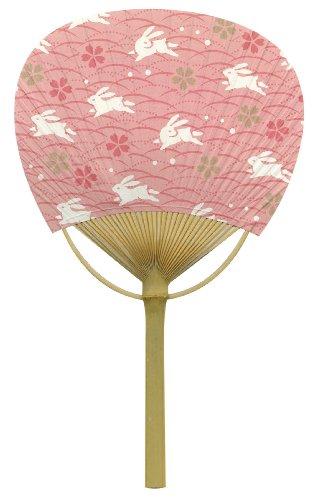 うちわ 桜うさぎ 木製