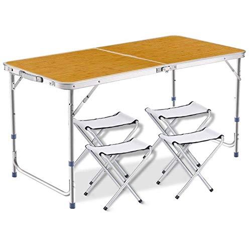 DesertFox アウトドア 折りたたみ テーブル 120×60×(55-62-70)cm 3WAY 自由に高さ調整可能 ピクニック レジャー キャンプ 用 (竹の色/チェア×4個付き)