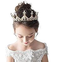 Tiara Kids Crown Headdress Girls Crown Crystal Big Headband Pink Birthday Hair Accessory