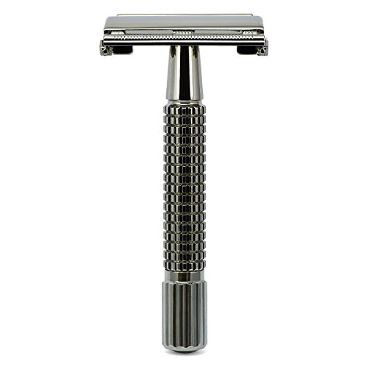 セイはさておきいつか装置G&F - Gentle Shaver Safety razor, Butterfly, black chrome, 8 cm