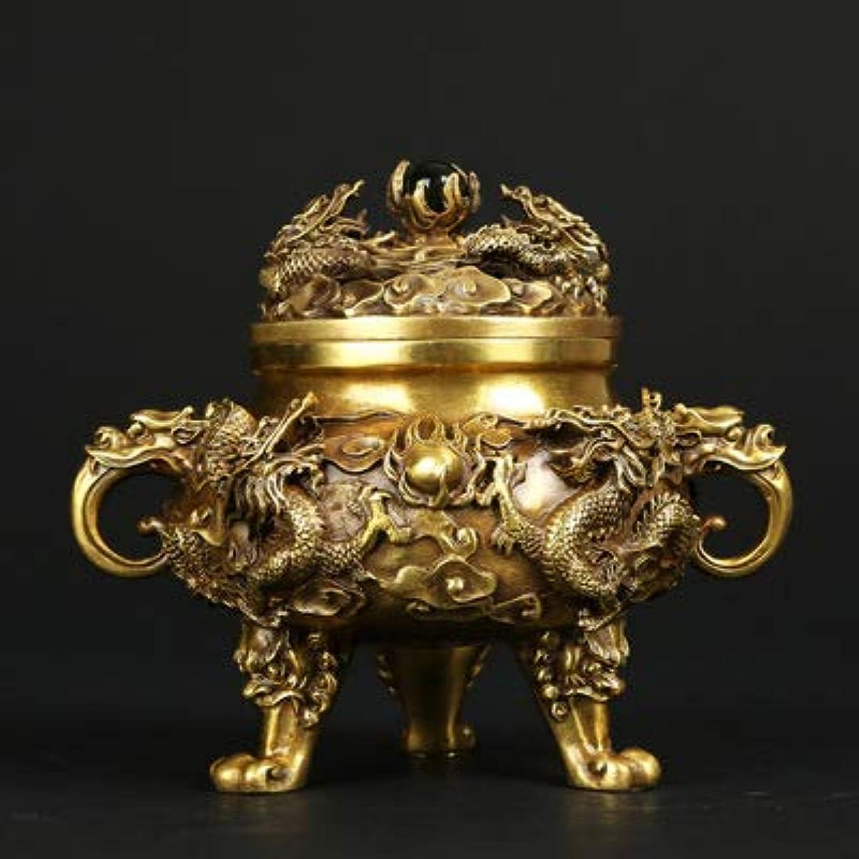 チューインガムエアコン組み合わせPHILOGOD 香炉 銅作るエンボスドラゴンプリント仏壇用 香立て 香皿