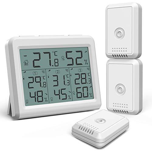 ORIA デジタル温湿度計 外気温度計 ワイヤレス 温度湿度計 室内 室外 三つセンサー 高精度 LCD大画面 バッ...