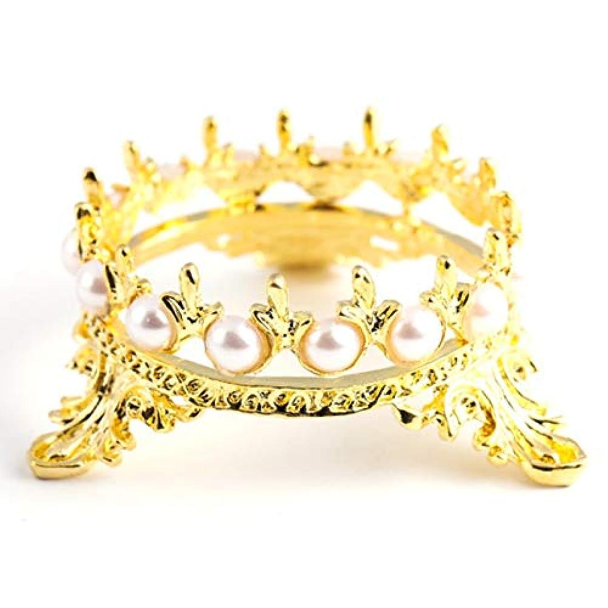 識字回転物理的にYoshilimen 特別1 xクラウンスタンドペンブラシホルダーパールネイルアートペンラックマニキュアネイルアートツール必需品(None Golden Crown Penholder)