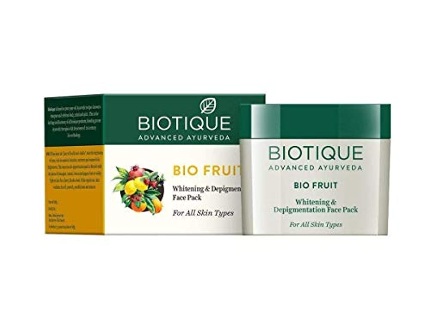 店主一時的センターBiotique Fruit Whitening & Depigmentation Face Pack 75g soft smooth Skin tone ビオティックフルーツホワイトニング&デピグメントフェイスパックソフトスムーススキントーン