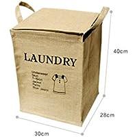 FenBuGu-JP 興味深い ジュートホーム収納ボックス折りたたみ式洗濯衣類洗濯用バスケット