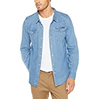 Wrangler Men's Harrison Ls Shirt, Washed Indigo