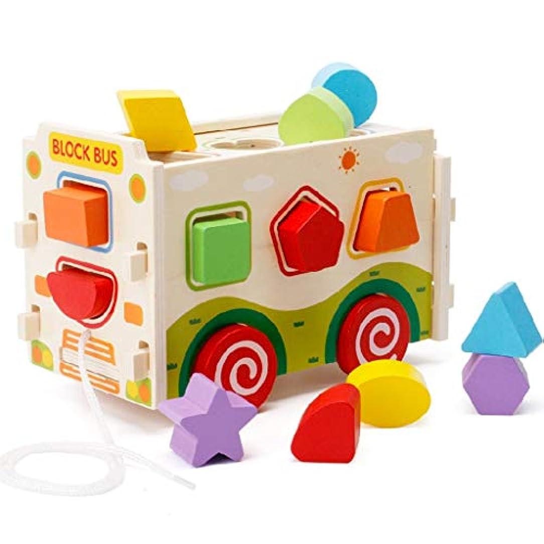 もっと軸美的幼児色彩認識やジオメトリ学習のためのプッシュプルトラックのおもちゃと大きな木製の形状選別機バス (色 : Multi-colored)