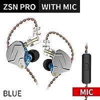 KZ ZSN プロ ヘッドフォン 1BA 1DD オーバーイヤーイヤホン バランス アーマチュアドライバー 人間工学的 快適なイヤホン 3.5mm取り外し可能ケーブル With MIC ブルー US-KZ-ZSN-Pro-Blue-M