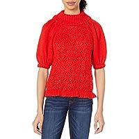 For Love & Lemons Womens KHO19T901 Francois Puff Sleeve Pointelle Sweater Pullover Sweater - red
