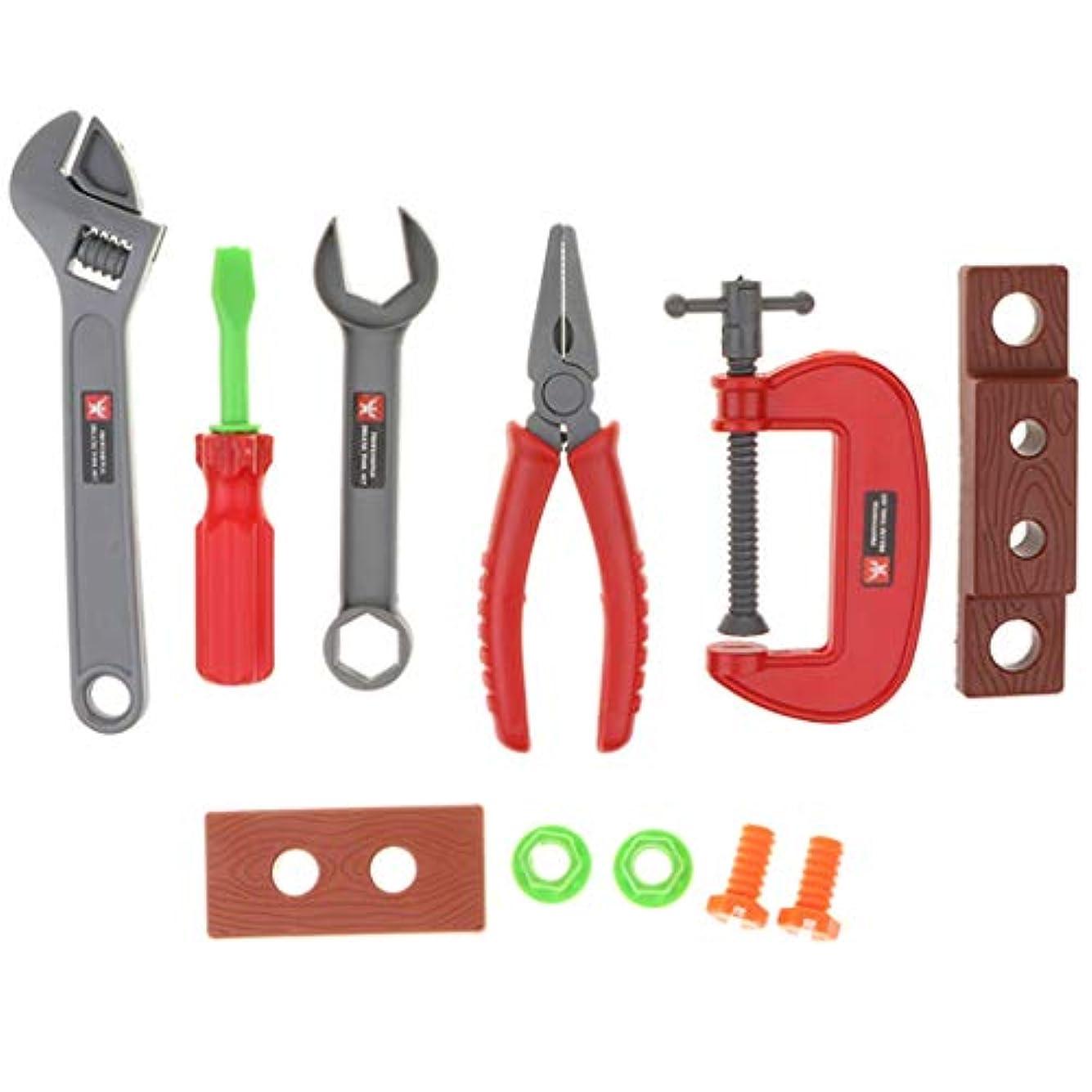正義違反するオフ工具おもちゃセット 作業道具 修理キット 作業ツール 遊んで勉強 大工さん ホームツール 子供用