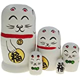 Arsdoll Lovely Fortune Lucky Cat Nesting Doll Wooden Matryoshka Russian Doll Handmade Stacking Toy Set 5 Pieces for Kids Girl Mother's Day Gifts Home Decoration