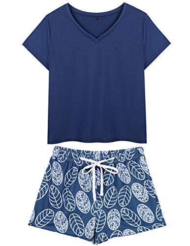 VENTELAN Summer Pajamas for Women Plus Size Ladies V-Neck Sleepwear Shorts Pjs Navy Blue