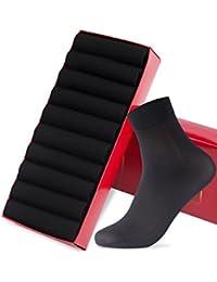 GoldenSelect 靴下 メンズ ビジネスソックス リブソックス 抗菌防臭 10足セット 24-28cm 銀イオン 通気性抜群 (1-ブラック)