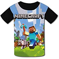 QIANBAIHUI Kids Youth Minecraft 3D Printed Short Sleeve T-Shirt Tees