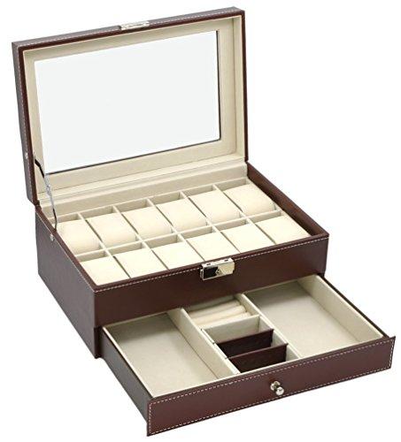 【珍宝庵】腕時計 コレクション用 高級ケース  活用 整然性 多功能 腕 時計 12本 上下二層 収納ケース