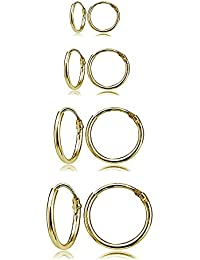 4 Pair Set Sterling Silver 10mm, 12mm, 14mm & 16mm Thin Round Continuous Endless Unisex Hoop Earrings