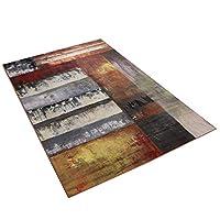 レトロ印刷インクカラフルなリビングルームの寝室のコーヒーテーブルカーペットマット滑り止めウォッシュ120-140 cm部屋の装飾マルチサイズオプション (版 ばん : B, サイズ さいず : 120*160cm)