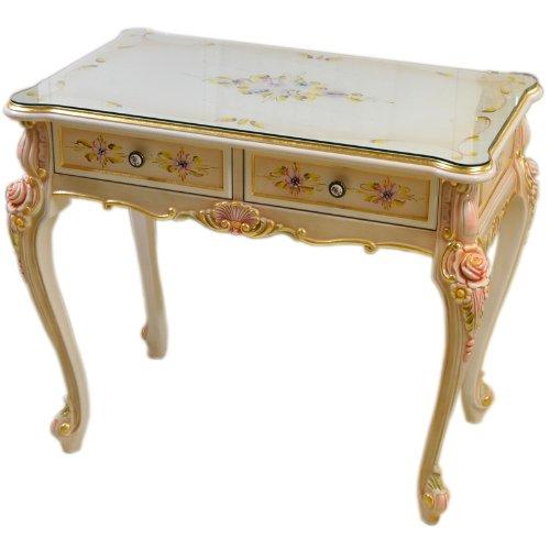 輸入家具:お姫様のロココ調家具:お花のスモールデスク2304S【トップガラスサービス中】