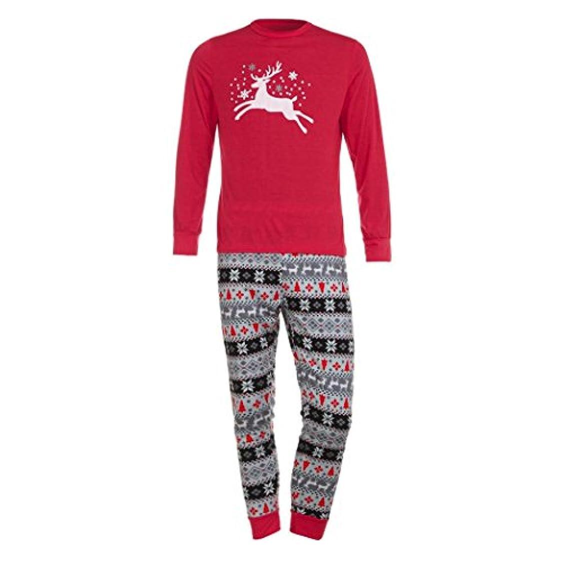拘束するガチョウ流すファミリMatchingパジャマセットクリスマス鹿Tシャツトップスブラウスパンツfor the Family (メンズ) L グレイ TZZ70703662