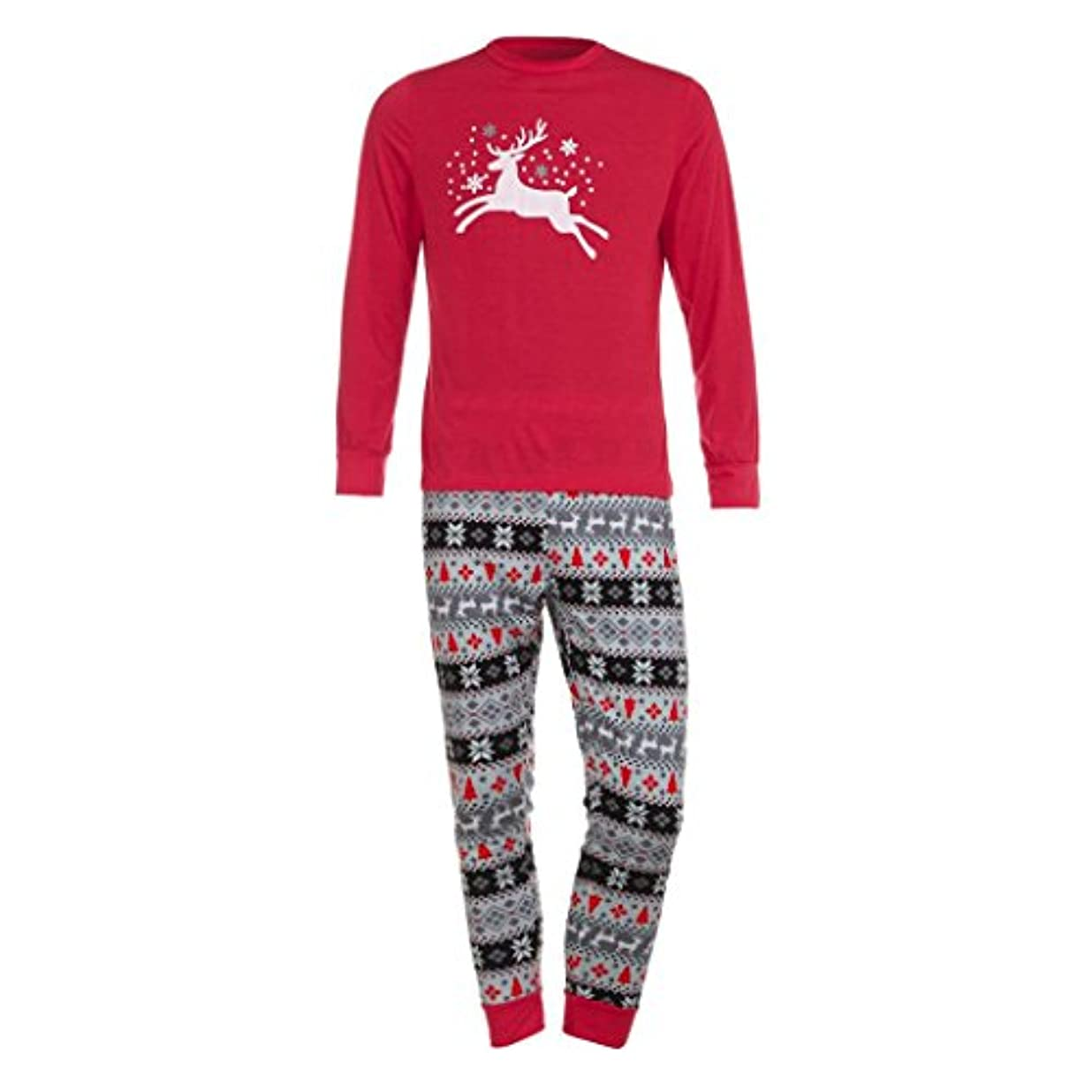 単なる写真の違反するファミリMatchingパジャマセットクリスマス鹿Tシャツトップスブラウスパンツfor the Family (メンズ) L グレイ TZZ70703662