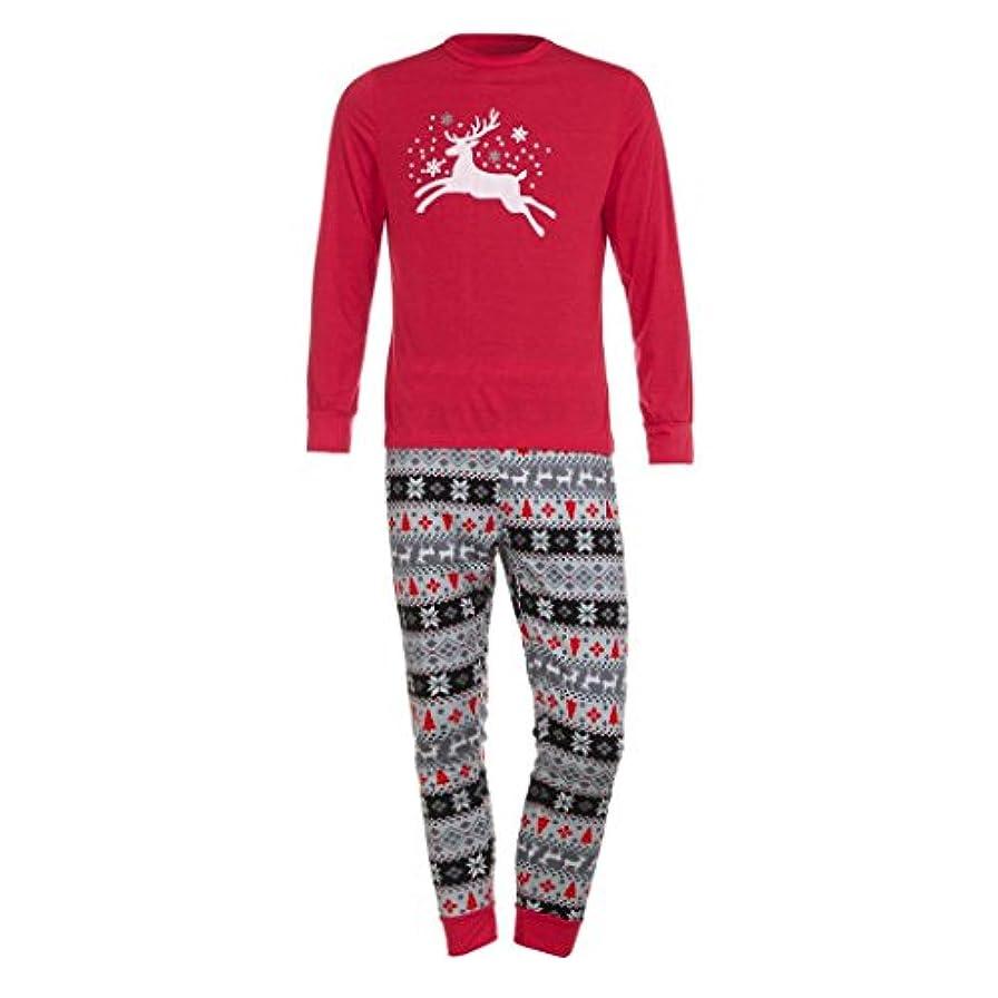 まあ理容室ナットファミリMatchingパジャマセットクリスマス鹿Tシャツトップスブラウスパンツfor the Family (メンズ) L グレイ TZZ70703662