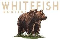 (9 x 12 Art Print) - Whitefish, Montana - Grizzly Bear - Icon (9x12 Art Print, Wall Decor Travel Poster)