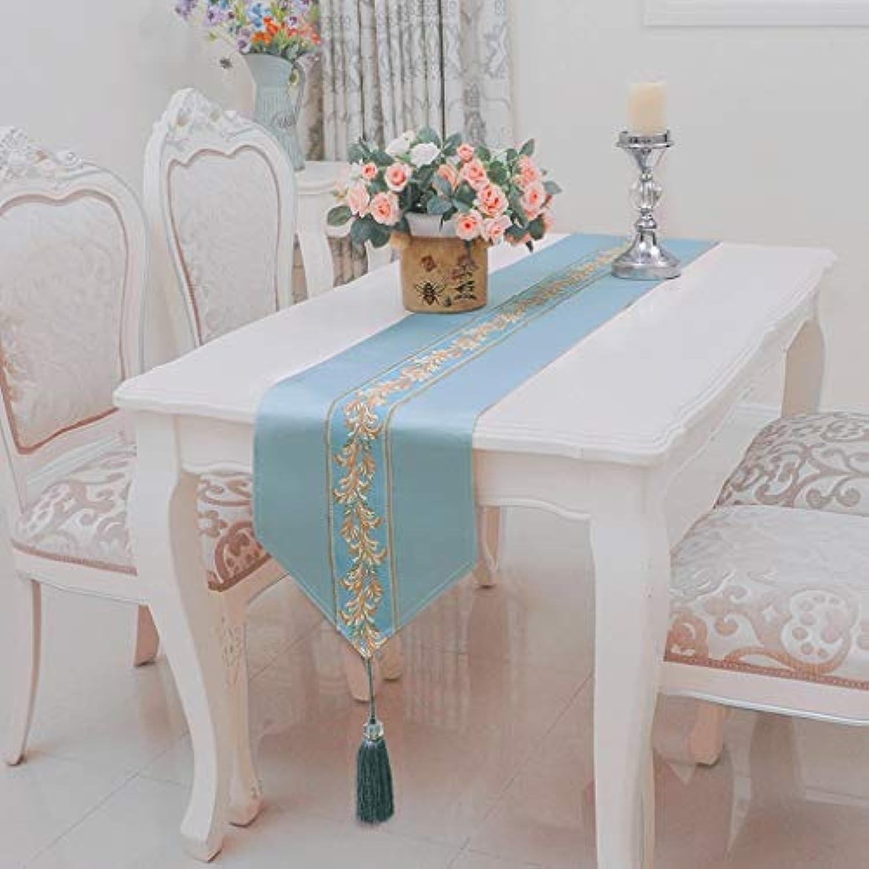 テーブルランナー ホームデコレーション 北欧 刺繍 モダン おしゃれ 長方形 エレガント 結婚式 お祝い 30*160/180/200/220/240cm (Color : Lake Blue, Size : 30X180CM)